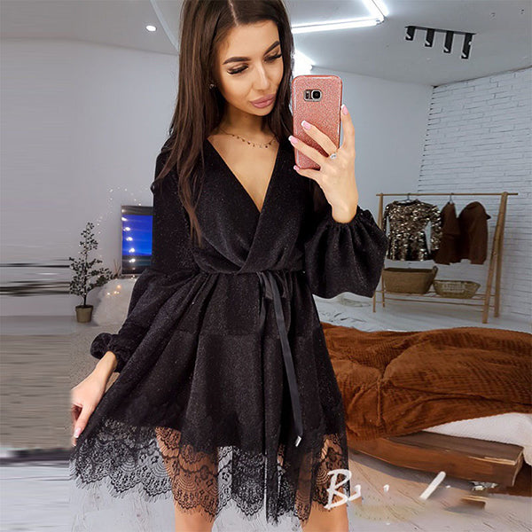 Women Sexy Sashes Lace Patchwork Party Dress Ladies Long Sleeve v Neck a Line Club Dress New Fashion Mini Vestidos