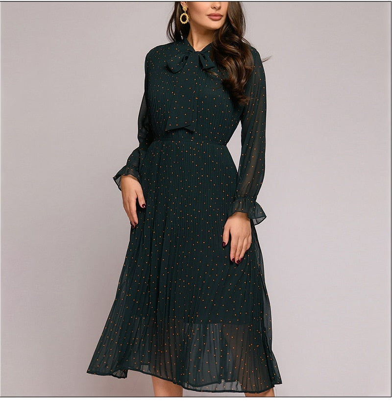 New Dot Print Chiffon Dress Bow Neck Long Sleeve Loose Mid-length Pleated Dress A-line Chic Feminine Autumn Dress