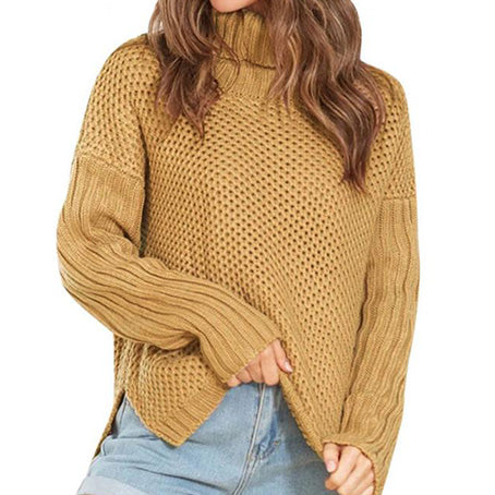 Women Turtleneck Pullovers Female Fashion Bottom Slit Loose Sweaters Jumpers Ladies Warm Knitted Tops