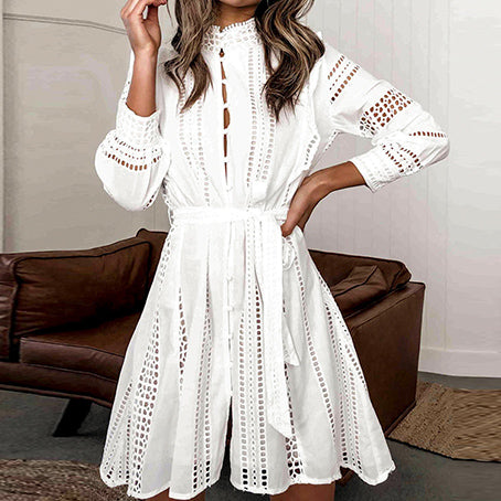 Sexy White Party Dress Women Hollow Out Club Short Ladies Dresses Turtle Bow Long Sleeve Lace Dress Vestidos