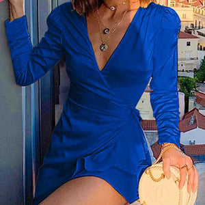 Women Wrap Satin Short Party Dress Long Sleeve Ruffle Mini Dress Female Fashion V Neck Slip Vestidos Plus Size