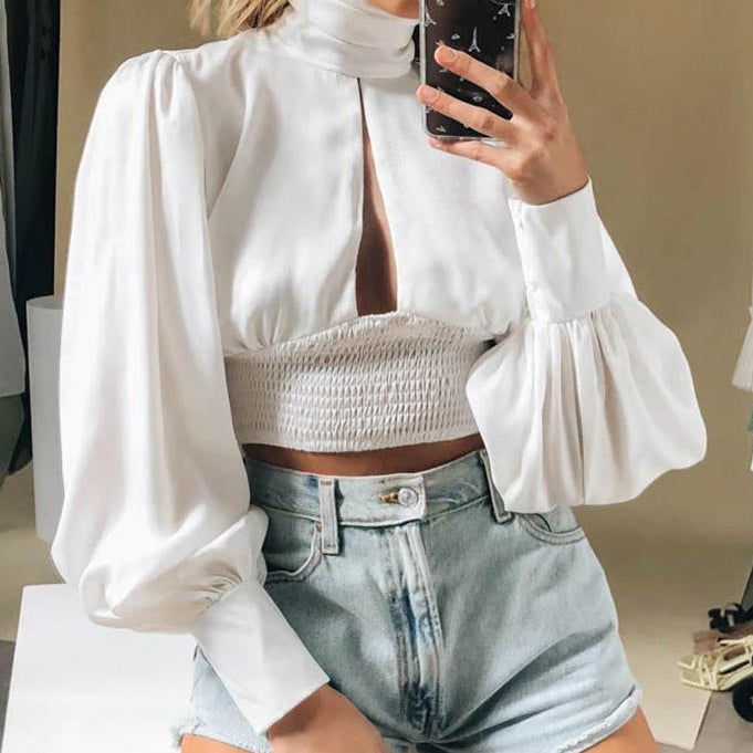 Sexy Hollow Out Backless Women Crop Tosp and Blose Ladies Fashion Turtleneck Lantern Sleeve Shirt White Vintage Blusa