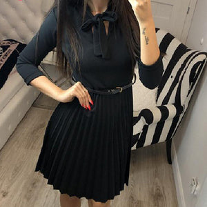 Women Fashion Pleated Short Party Dress Female Long Sleeve Bow Collar High Waist Belt Dress Ladies Plus Size