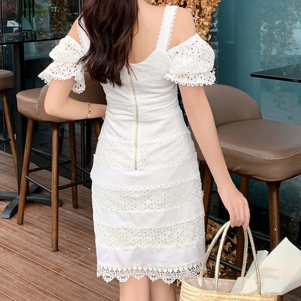 White Patchwork Lace Dress For Women Square Collar Short Sleeve High Waist Sexy Party Mini Dresses Female Fashion New