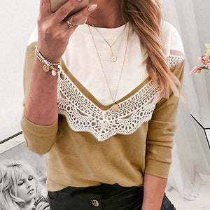 Lace Knitted Women Long T-shirts Casual Patchwork Loose Shirts Tops Ladies Korean Shirt Tops