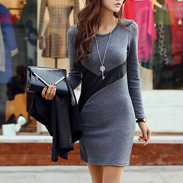 Dress Women Sexy Casual Leather Patchwork Slim Mini Dresses Ladies Solid O Neck Black Long Sleeve Bodycon Dress