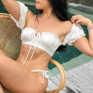 Solid White Ruffle Swimsuit Female Bandeau Bikini Short Sleeve Swimwear Women Tie Side Bathing Suit High Cut Biquini