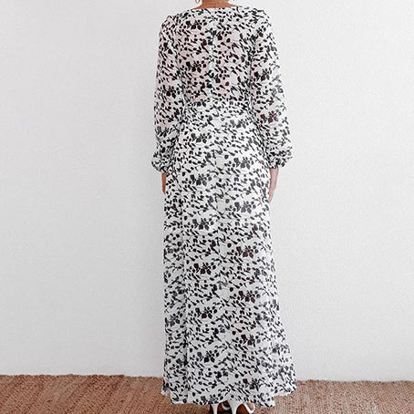 Women Fashion V Neck White Flower Print Long Dress Female Long Sleeve Slit Dress Ladies Lace up Dress