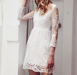 Elegant Embroidery Lace Midi Dress Female Long Sleeve Dress Plus Size Sexy Party Vestidos