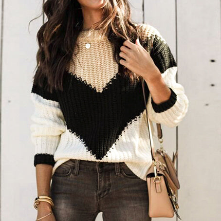 Stripe Patchwork Knitted Sweater Women Jumper Harajuku Female Casual Loose Sweaters Pullovers