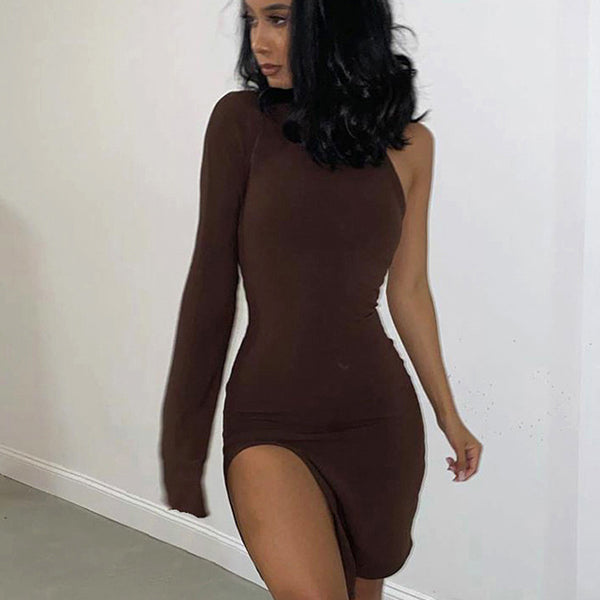 One Shoulder Long Sleeve Women Bodycon Party Dresses Side Slit Fashion Sexy Skinny Clubwear Mini Dress Solid Hot