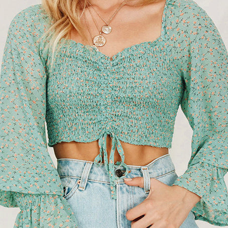 Vintage Floral Print Women Crop Tops and Blouse Long Sleeve Plead Short Shirt Chic Drawstring Blusa