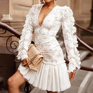 Ruffles Feminino Dresses Sexy Deep V Mesh Lace Women Dresses Club Party Mini Female White Dress Vestidos