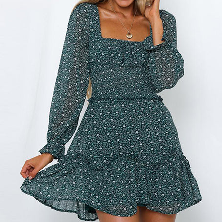 Women Vintage Print Green Short Party Dress Female Square Collar Long Sleeve Mini Dress Lady Vestidos