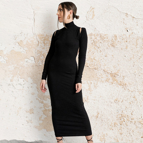 Dress Women Black Bodycon Dress Long Sleeve Cut Out Sexy Midi Dress Evening party Night Club