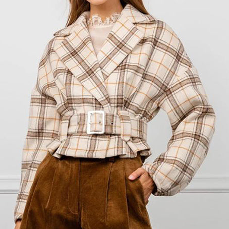 Women Fashion Plaid Artificial Woolen Coats Female High Street Belt Short Jackets and Coats Ladies