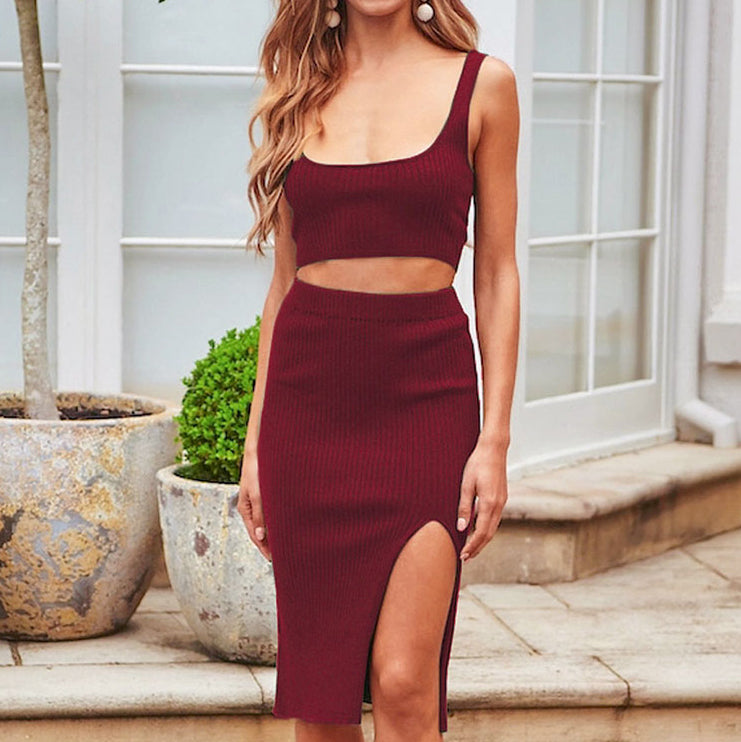Women Knitted Two Piece Set Dress Fashion Bandage High Waist Slit Dress Suit Female Casual Skirts