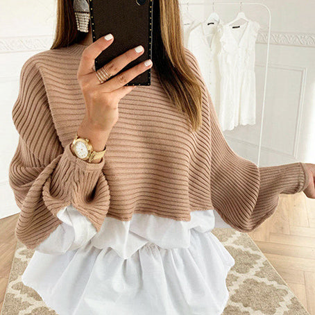 Ruffles Patchwork Sweater Jumper Women Streetwear Korean Harajuku Sweater Casual Blusas Sweater