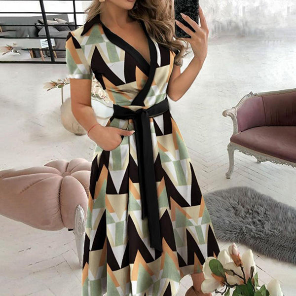 Fashion Women Dress Turn Down Collar Solid Short Sleeve Belt Long A-line Dress Party Female Maxi Dresses Vestidos