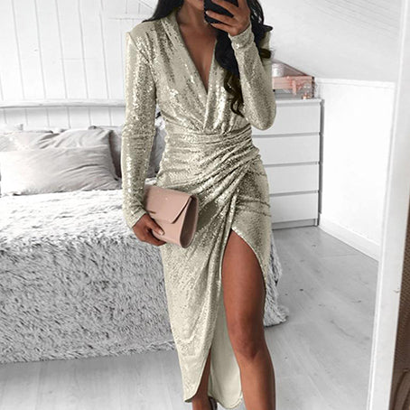Fashion Sexy V Neck Sequin Club Dress Women Long Sleeve Slim Bodycon Dress Plus Size Ladies Party Vestidos