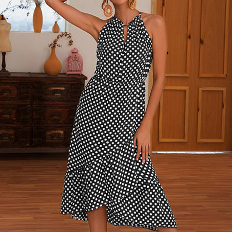 Ruffles Elegant Polka Dot Vintage Dresses Women Sleeveless Beach Halter Dress Vestidos