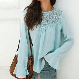 Fashion Women Shirt Patchwork Long Sleeve Womens Tops and Blouse Female Chiffon Plus Size Blusa