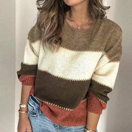 Women Fashion Color Block Pullovers Female Loose Jumpers Sweater Ladies Casual Plus Size Knitted Tops