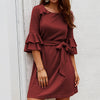 Ruffles Elegant Plus Size Dresses Women Party Night Vintage Dress Bow Knitted Ladies Dress Vestidos