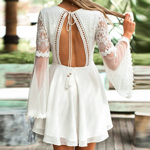 Lace Mesh Party Dress Women Flare Dresses Tassel Backless Embroidery Ruffles Dress Vestidos