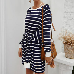 Women Casual Striped Short Dress Female Long Sleeve Elastic Knitted Dress Plus Size Ladies Sashes Mujer Vestiods