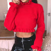 Sexy Turtle Crop Sweater Women Ruffles Knitted Ruffles Female Sweater Solid Sweater