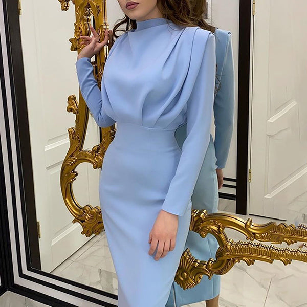 Elegant Women Dress Stand Collar Slim Waist Solid Blue Ankle Length Long Sleeve Casual Party Dress Fashion