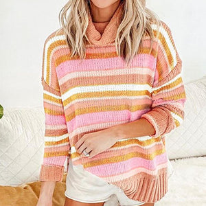 Fashion Stripe Turtleneck Slit Pullovers Female Warm Long Sleeve Jumpers Sweater Ladies Plus Size Tops Sweater