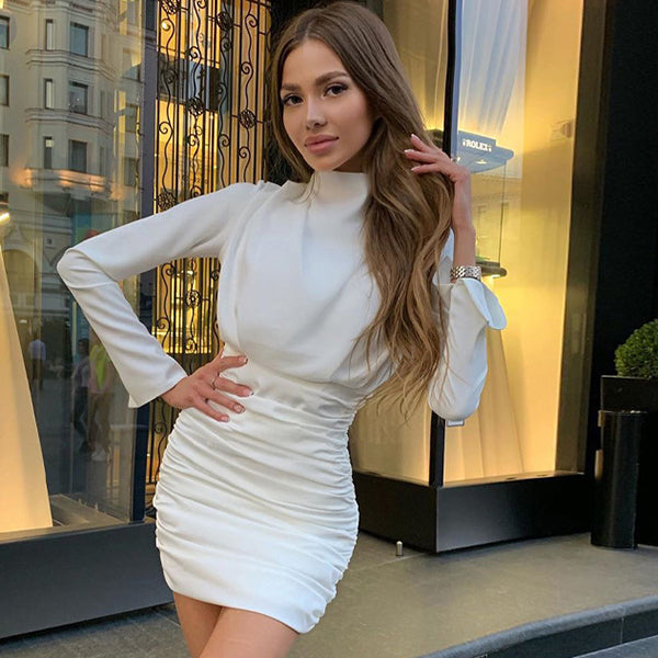 Long sleeve ruched pure sexy mini dress winter women streetwear party outfits clubwear