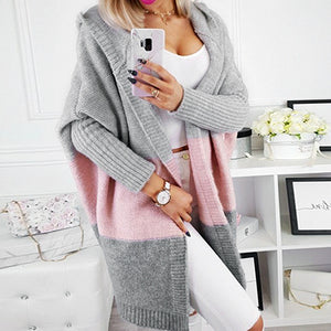 Patchwork Stripe Hooded Sweater Cardigans Women Harajuku Ladies Casual Pockets Long Plus Size Cardigan