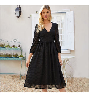 Women Black Sexy Party Vestidos Autumn Fashion New Chiffon Dress Women V-neck Slim Bohemian A-line Dresses