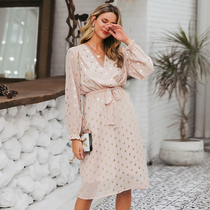 Bronzing Pink Chiffon Beach Midi Dress Casual Ruffles Bow Tie Dresses Sash Sexy Summer Holiday Dress Vestidos