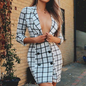 Plaid High Fashion Blazer Dress Women Button Female Party Elegant Dress Feminino Dresses Vestidos