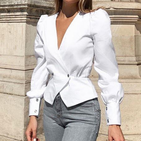 Elegant Solid Women Blouse Shirts Vintage Retro Peplum White V Neck Female Blouses Puff Casual Blusa Mujer