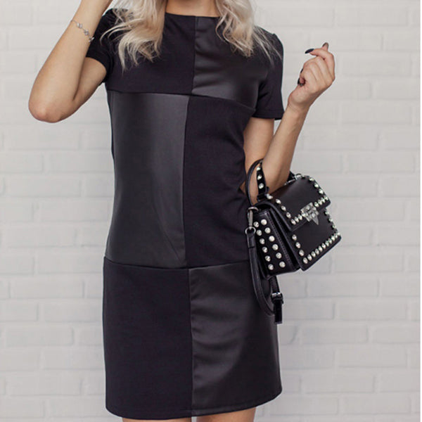 Women Vintage Leather Patchwork Elegant Office Dress Long Sleeve O neck Solid Casual Mini Dress New Fashion Dress