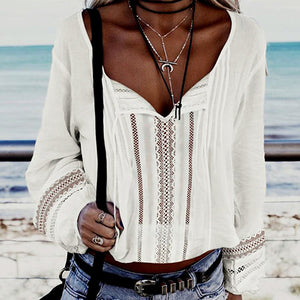 Hollow Out White Lace Blouse Shirts Women Blouses Shirts Loose High Fashion Sexy Beach Blusas MujerItem
