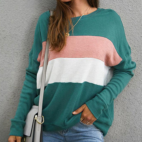 Fashion Color Block Women T-Shirt Female Long Sleeve Tops Ladies Plus Size Off Shoulder Loose T-Shirts