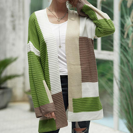 Fashion Color Block Cardigans Sweaters Women Knitted Long Sleeve Vest Female Sweater Jackets and Coats