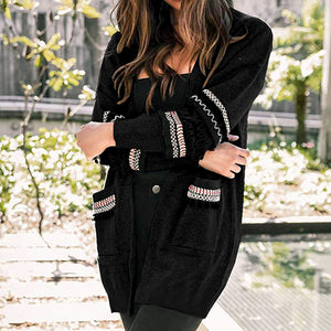 Fashion Tassel Long Sleeve Cardigan Casual Pockets Women Long Sweater Mujer Chic Knit Coat Plus Size