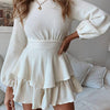Women Fashion Knitted Short Party Dress Female Long Sleeve Backless Mini Dress Ladies Plus Size Dress