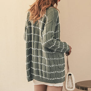 Women Cardigan Fashion Green Stripe Pockets Long Knitted Coat Mujer Casual Long Sleeve Sweater Jacket