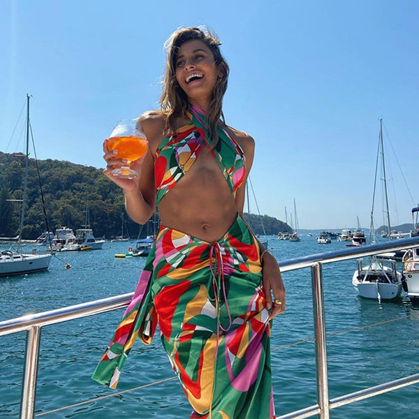 Sexy Print Tracksuit Woman Two Piece Boho Outfit Suits Halter Bandage Tanks And Ruched Drawstring Midi Skirts Matching Sets