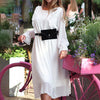 Elegant White Polka Dot Party Dress Women Long Sleeve Chiffon Dress Female Ruffle Midi Dress Ladies Plus Size