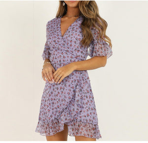 Women Lilac Floral Wrap Dress Summer Elegant Flare Sleeve Boho Print Mini Sundress Sexy V Neck Ladies Clothes