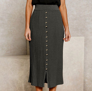 High Waist Skirts Button Split Long Knitted Skirt Ladies Solid Rib Casual Skirt